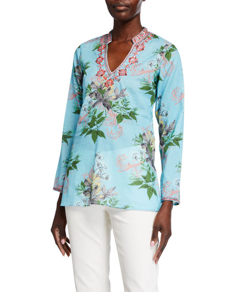 Bella Tu Leaves Printed V-Neck Tunic