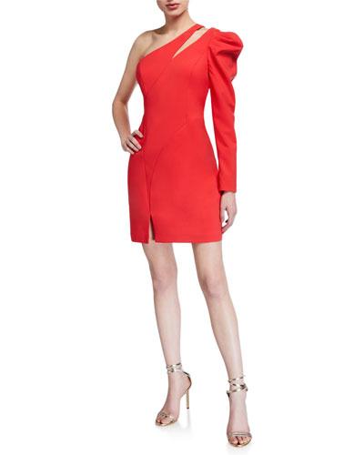 One-Shoulder Single Balloon-Sleeve Crepe Dress
