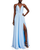 Faviana Sleeveless Ruched Strappy Chiffon Gown