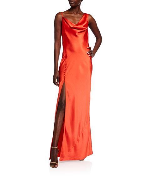 Jay Godfrey Justine Hammered Satin Cowl-Neck Gown