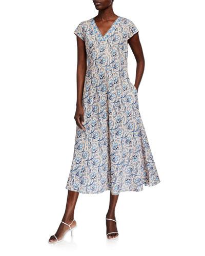 Natalie Beaded V-Neck Cap-Sleeve Midi Dress