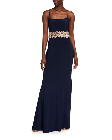 Faviana Square-Neck Lace-Up Jersey Gown w/ Applique Waist