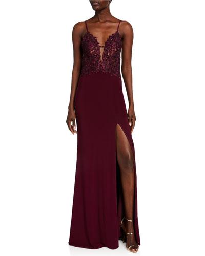 V-Neck Lace Applique Stretch Jersey Column Gown