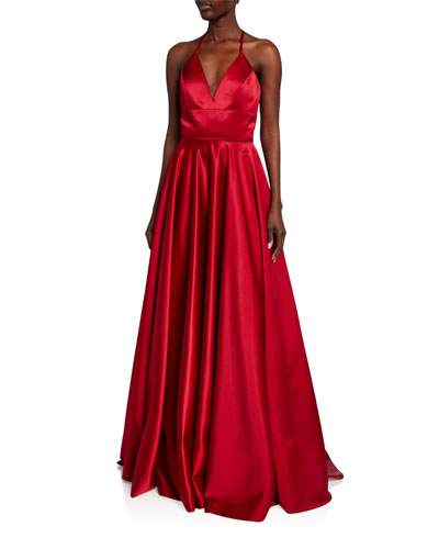Lace-Up Satin Ball Gown