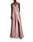 Faviana V-Neck Applique Top Charmeuse Gown w/ Lace-Up