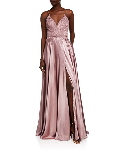 V-Neck Applique Top Charmeuse Gown w/ Lace-Up Back