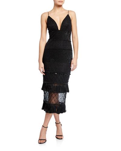 Beaded Midi Slip Dress with Tassel Hem