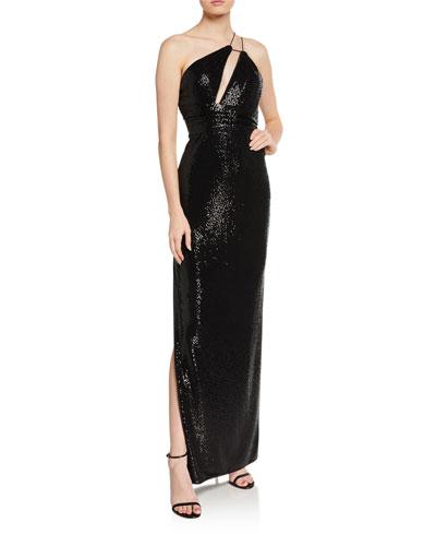 One-Shoulder Foiled Dot Knit Column Gown w/ Cutout