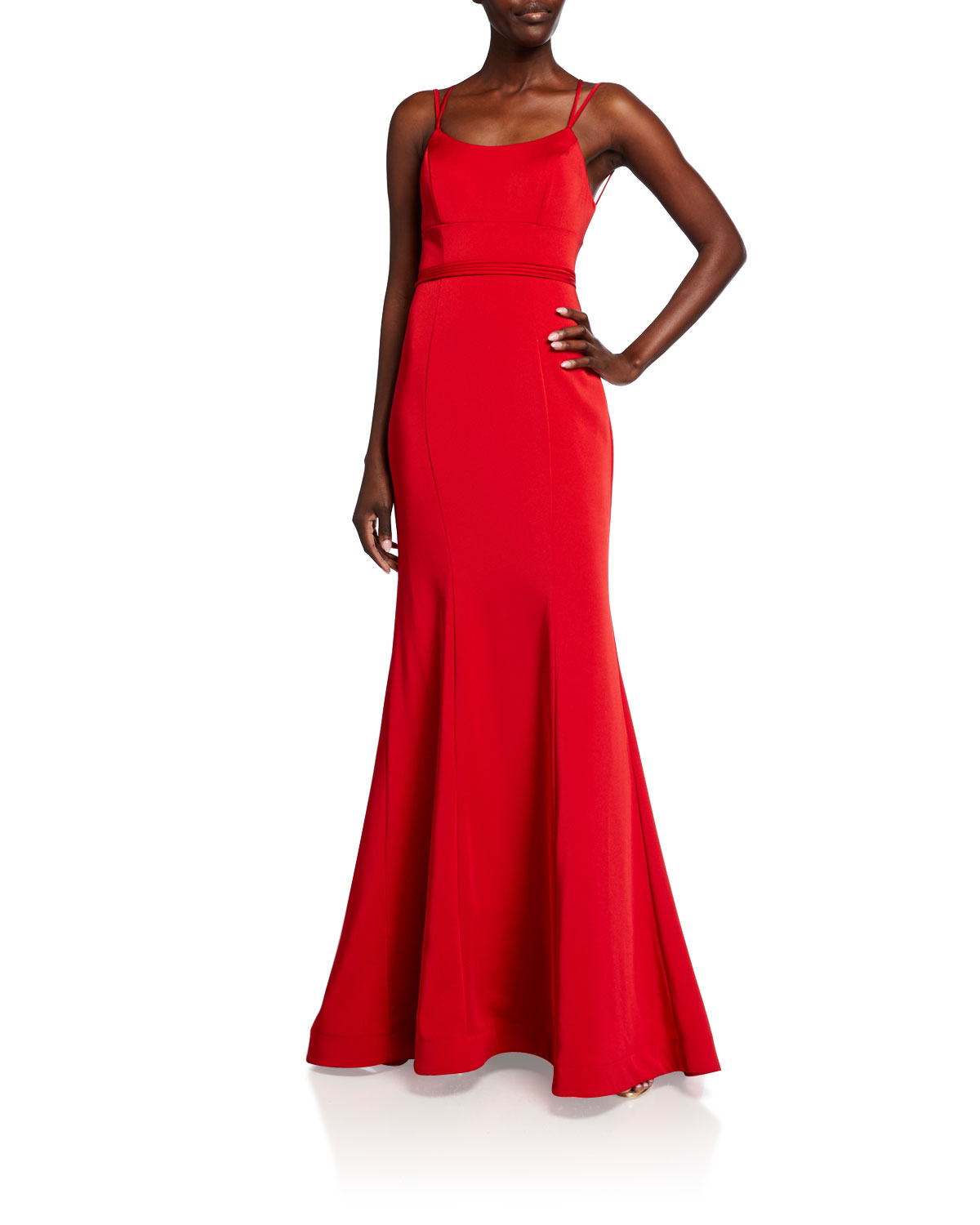 Faviana SCOOP-NECK DOUBLE-STRAP LACE-UP MERMAID GOWN