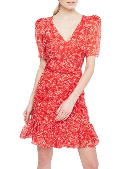 Parker Krislyn Printed Short-Sleeve Flounce Dress