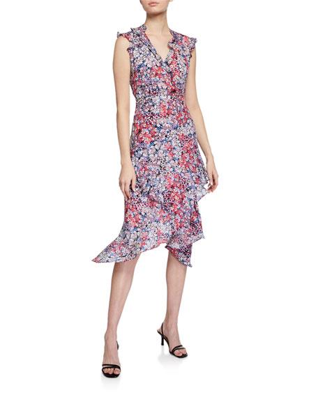 Parker Atlanta Printed Sleeveless Ruffle Dress