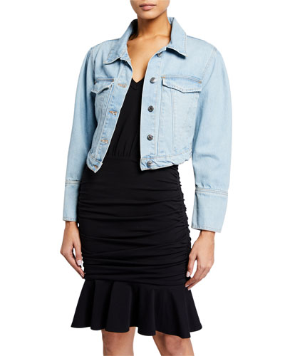 Denim Pouf-Sleeve Jacket