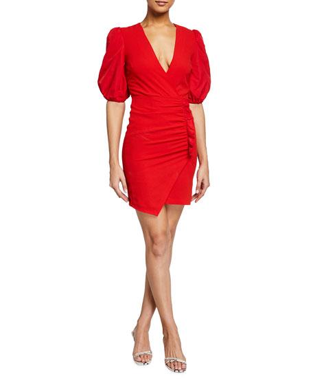 PINKO Bardak Shirred Puff-Sleeve Dress