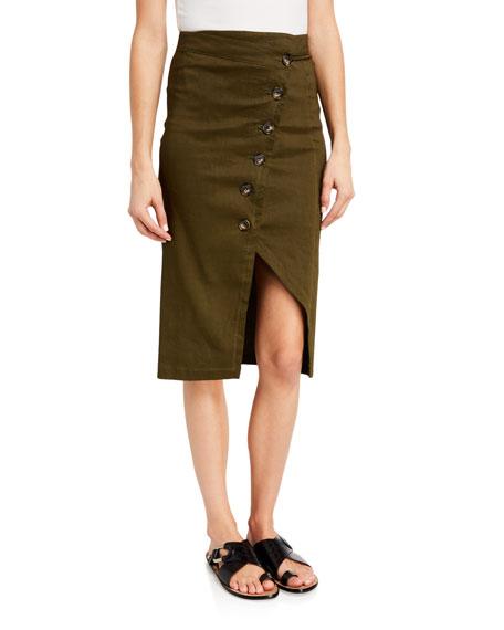 PINKO Button-Front Linen Pencil Skirt