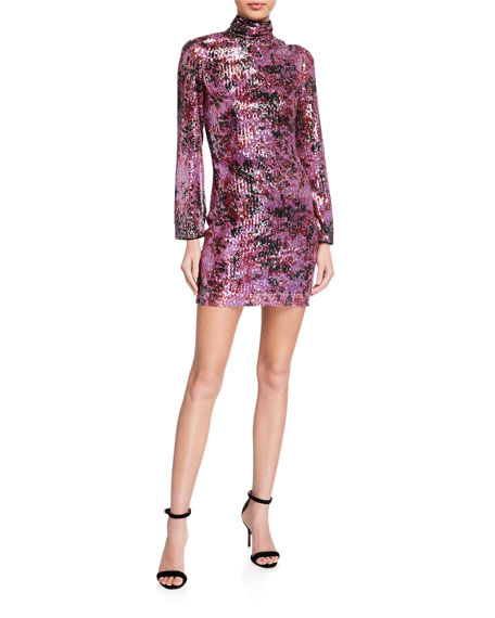 One33 Social Floral Sequin Mock Turtleneck Long-Sleeve Mini Dress