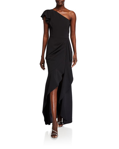 Megan Asymmetric Crepe Ruffle Gown