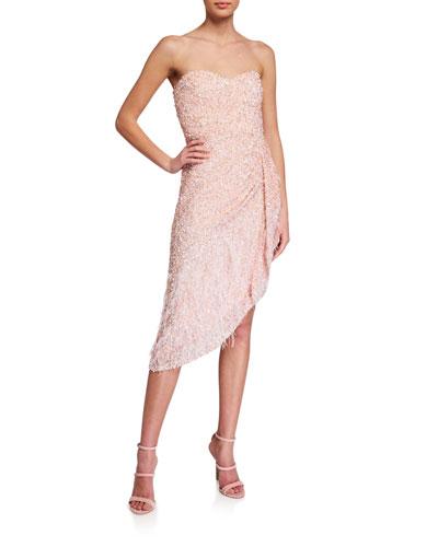 Nerissa Beaded Strapless Asymmetric Dress