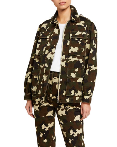 Belted Camo-Print Field Jacket