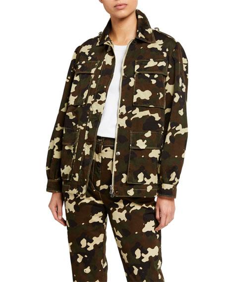 PINKO Belted Camo-Print Field Jacket