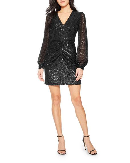 Parker Black Ash Long-Sleeve Sequin Cocktail Dress