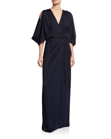 Halston Kimono Long Wrap Gown