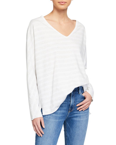 Deep V-Neck Tonal Stripe Long-Sleeve Tee