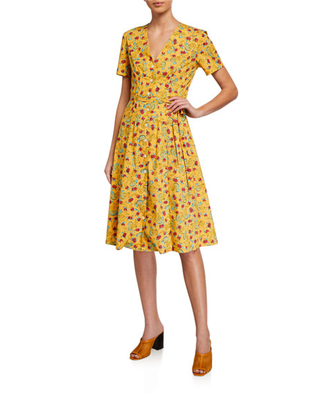 HVN Rosemary Button-Front Fruits Cotton Dress