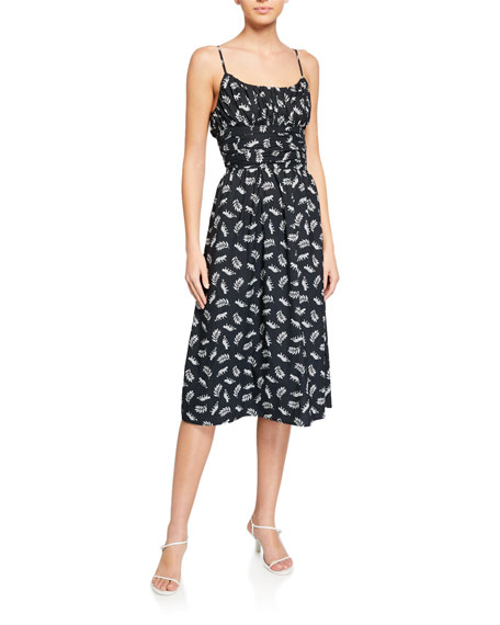 HVN Lucy Ruched Cotton Strappy Dress