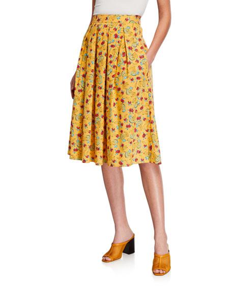 HVN Hope Pleated Cotton Skirt