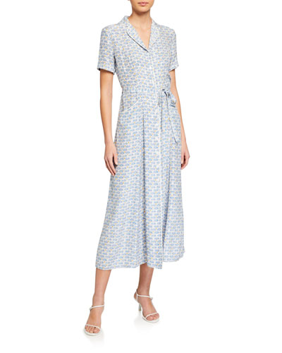 Maria Long Button-Down Pajama Dress with Belt