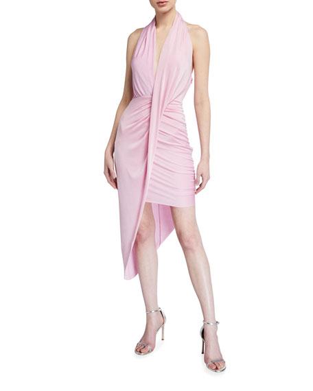 Misha Priya Jersey Halter Dress w/ Asymmetric Hem