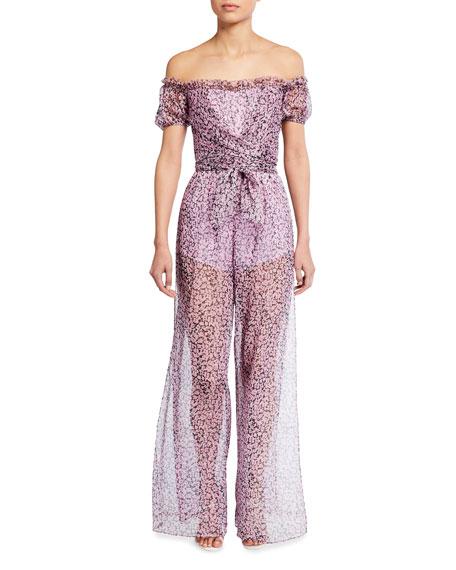Misha Zara Floral Off-the-Shoulder Semisheer Jumpsuit