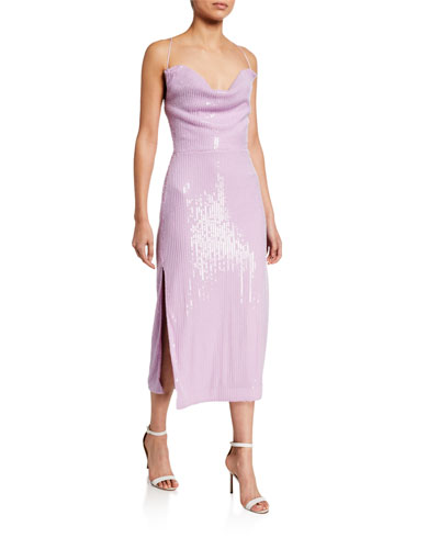 Devon Sequin Cowl-Neck Midi Dress