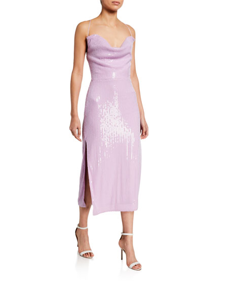 Misha Devon Sequin Cowl-Neck Midi Dress