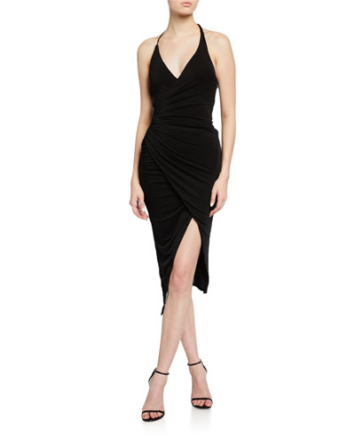 Rima Jersey Halter Dress w/ Asymmetric Hem