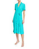 HVN Maria Crepe Button-Front Pajama Dress