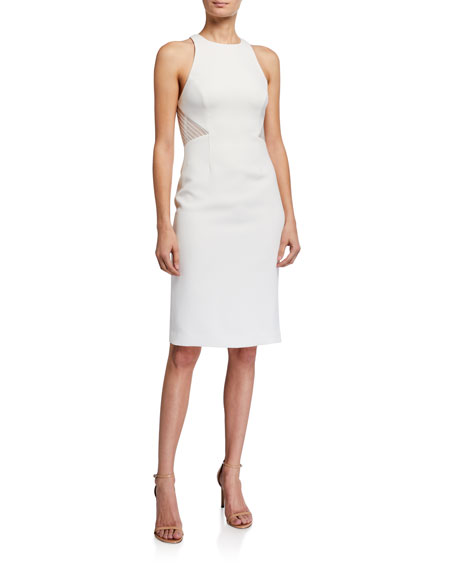 Halston Embroidered Back Heavy Crepe Halter Dress