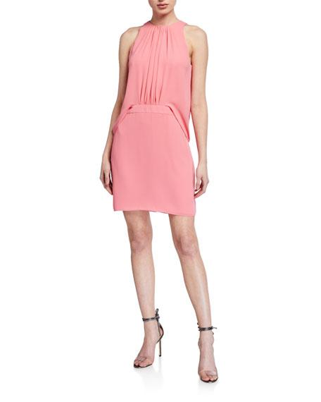 Halston Shirred Front Sleeveless Georgette Dress