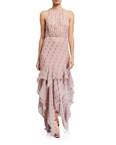 Metallic Clip Jacquard Ruffle Skirt Gown