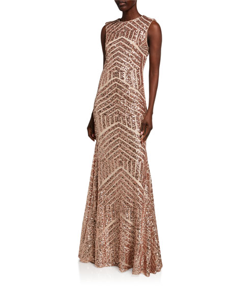 Jovani Graphic Beaded Open-Back Column Gown