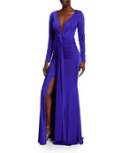 Jovani Deep V-Neck Long-Sleeve Shirred Matte Jersey Gown