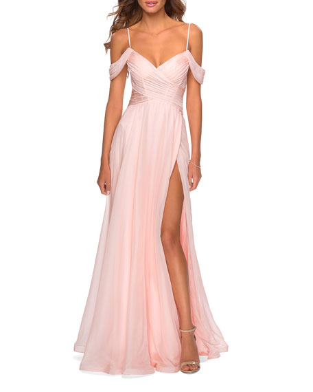 La Femme Cold-Shoulder Long Chiffon Gown with Slit