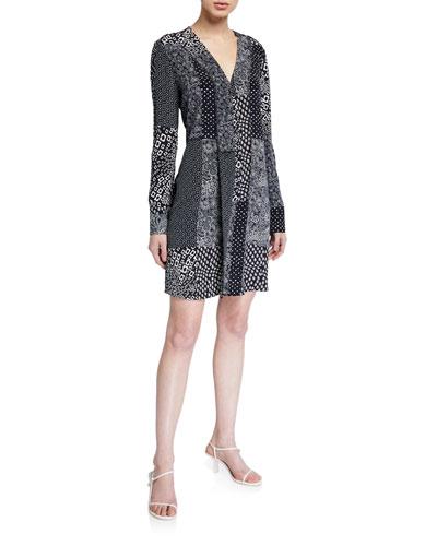 Reid Patchwork Long-Sleeve Dress