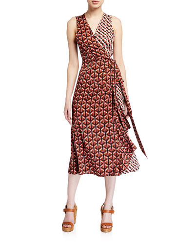 Moira Printed Sleeveless Wrap Dress