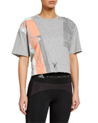 adidas by Stella McCartney Graphic Drawstring-Waist Short-Sleeve