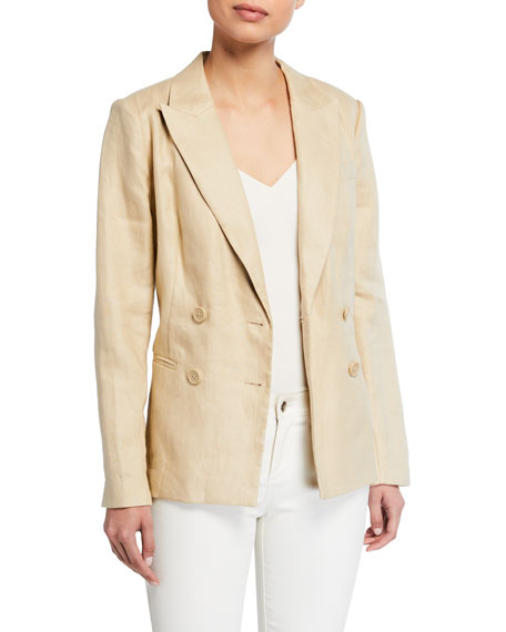 Equipment Benoite Double-Breasted Linen Blazer