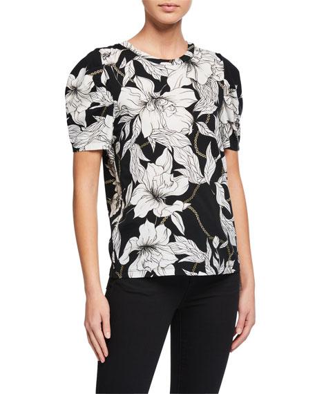Pam & Gela Poppy Puff-Sleeve Floral-Print Tee