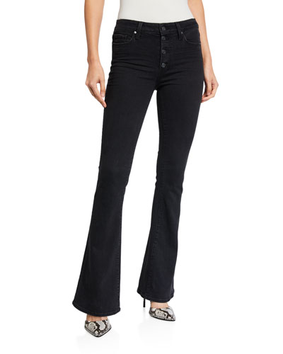 Lou Lou High-Rise Flare Jeans with Exposed Buttons