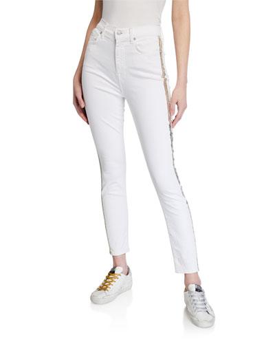 Side-Striped Skinny Ankle Jeans