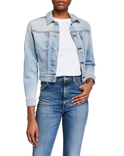Cotton-Cashmere Triple-Needle Denim Jacket